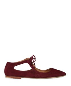 Pomme D'Or | 10mm Suede Lace Up Ballerina Flats