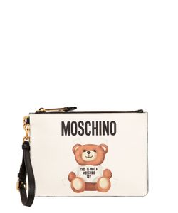 Moschino | Teddy Bear Tab Print Faux Leather Pouch