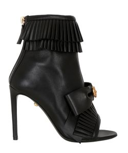 Fausto Puglisi | 100mm Ruffled Leather Open Toe Boots