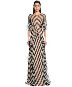 Alberta Ferretti | Платье Из Шёлкового Шифона В Полсоку С Оборками