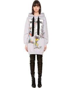 Moschino | Хлопковое Платье-Свитшот С Капюшоном И Принтом