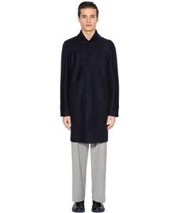 Emporio Armani | Пальто Из Варёной Шерсти С Трикотажным Воротником