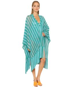 Missoni | Striped Lace Knit Poncho With Fringe