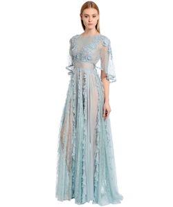 Zuhair Murad | Платье Из Кружева Макраме И Шифона С Оборками
