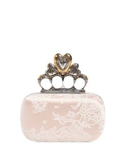 Alexander McQueen | Satin Lace Heart Knuckle Box Clutch