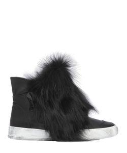 BLACK DIONISO | Высокие Кроссовки Из Кожи И Лисьего Меха 20mm