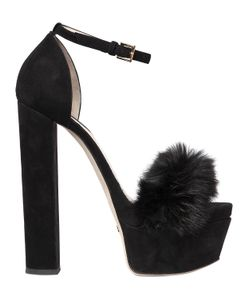 Elie Saab | 160mm Suede Rabbit Fur Sandals