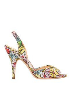 Moschino | Кожаные Босоножки С Цветочным Принтом