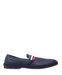 Rivieras | Striped Elastic Band Raffia Loafers