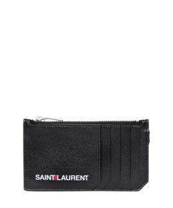 Saint Laurent | Logo Printed Zip Leather Wallet
