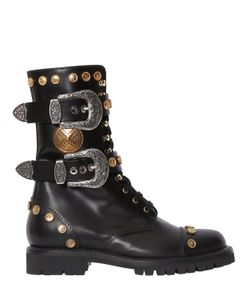 Fausto Puglisi | 30mm Studded Leather Combat Boots