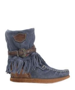 El Vaquero | 70mm Alena Fringed Suede Wedge Boots