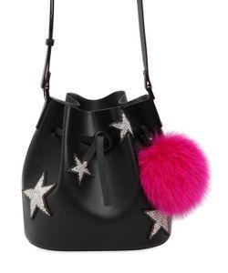 Les petits joueurs | Dalia Star Pompom Leather Bucket Bag