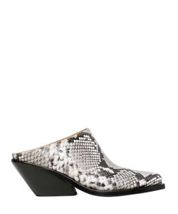 Gaia D'Este | 70mm Python Printed Leather Mules