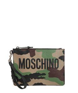 Moschino | Кожаный Клатч С Камуфляжным Принтом И Логотипом