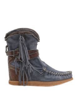 El Vaquero | 70mm Arya Fringed Suede Wedge Boots