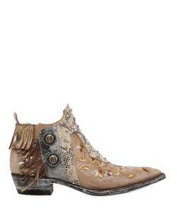 Mexicana | Кожаные Ботинки С Бахромой И Вышивкой 30mm