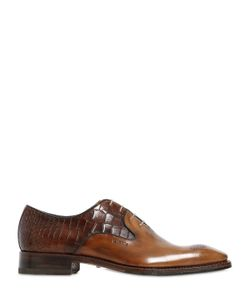 Harris | Croc Embossed Leather Monk Strap Shoes