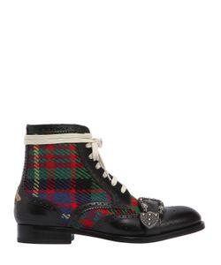Gucci | Ботинки Queercore Из Кожи И Твида