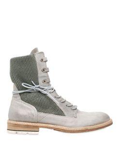 A.S.98 | Ботинки Из Кожи И Хлопка Стиль Милитари