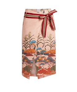 Stella Jean | Numerosa Japanese-Print Cotton Pencil Skirt