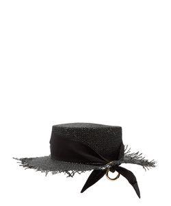 FEDERICA MORETTI | Frayed-Edge Panama Woven-Paper Hat