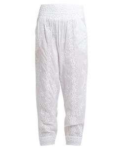 Juliet Dunn | Sequin-Embellished Embroidered Cotton Trousers