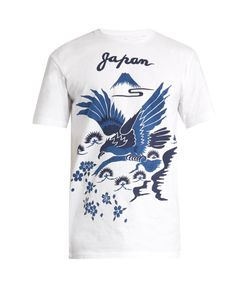 Blue Blue Japan | Japan And Bird-Print Cotton T-Shirt