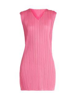 PLEATS PLEASE BY ISSEY MIYAKE   V-Neck Pleated Mini Dress