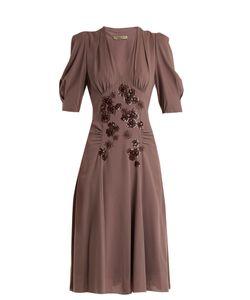 Bottega Veneta | Embellished V-Neck Silk-Georgette Dress