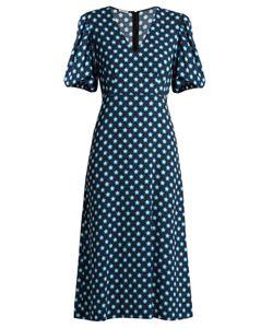 Miu Miu | Star-Print V-Neck Crepe Midi Dress