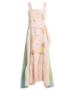 Peter Pilotto | Embroidered Striped Linen Pinafore Dress