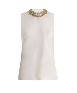 Goat | Fig Bead-Embellished Sleeveless Wool Top