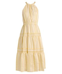 Rebecca Taylor | Striped Halterneck Tiered-Skirt Woven Dress