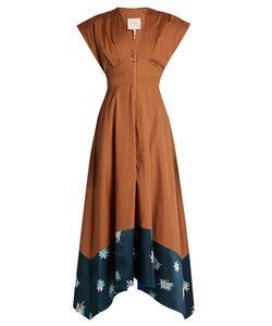 ROKSANDA   Mituva Deep V-Neck Butterfly-Hem Poplin Dress