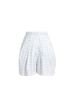 Vika Gazinskaya | Checked Pleated-Front Cotton Shorts