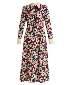 Gucci | Butterfly-Embroidery Print Silk-Crepe Dress