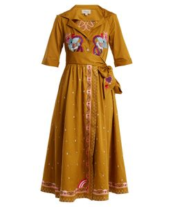 Temperley London | Divine Embroidered Tie-Waist Cotton Dress