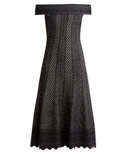Alexander McQueen | Off-The-Shoulder Lace-Jacquard Midi Dress