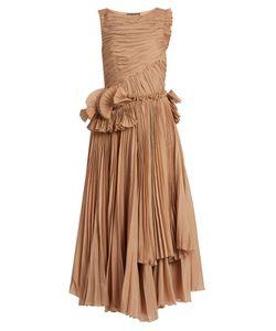 Rochas | Pleated Cotton-Blend Voile Dress