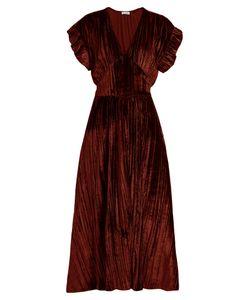 Masscob | Deep V-Neck Velvet Midi Dress