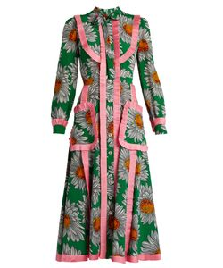 Gucci | Daisy-Print Silk Crepe De Chine Midi Dress
