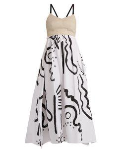 Isa Arfen   Tribal-Print Cotton And Linen-Blend Bustier Dress