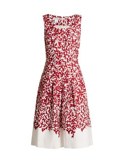 Oscar de la Renta | Graphic Leaves-Print Stretch-Cotton Dress