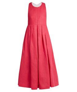 Delpozo   Racer-Back Linen Dress
