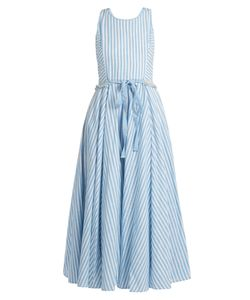 GÜL HÜRGEL | Striped Sleeveless Cotton And Linen-Blend Dress