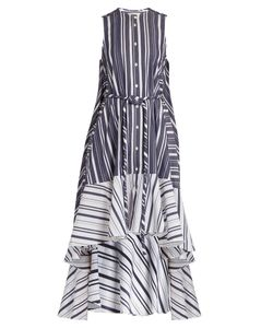 PALMER/HARDING | Waterfall-Hem Striped Cotton-Poplin Dress