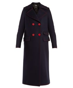MSGM | Double-Breasted Contrast-Stitch Wool-Blend Coat