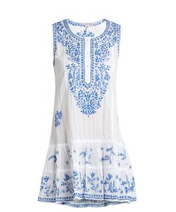 Juliet Dunn | Sleeveless Embroidered Cotton-Voile Dress