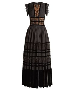Elie Saab | Lace-Insert Pleated-Georgette Gown